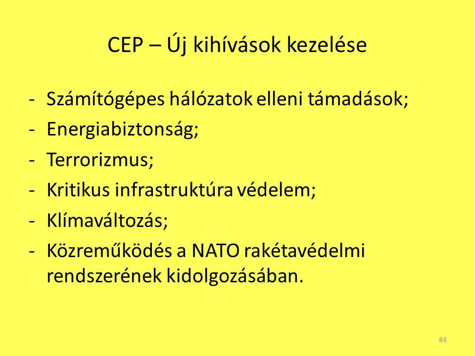 CEP – Új kihívások kezelése -Számítógépes hálózatok elleni támadások; -Energiabiztonság; -Terrorizmus; -Kritikus infrastruktúra védelem; -Klímaváltozá
