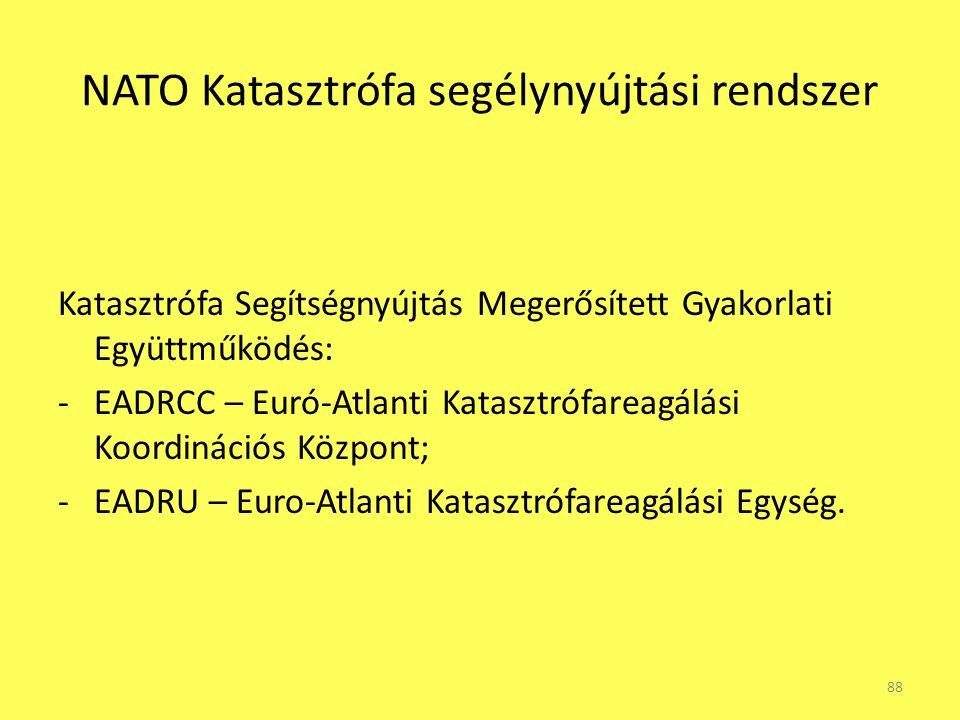 NATO Katasztrófa segélynyújtási rendszer Katasztrófa Segítségnyújtás Megerősített Gyakorlati Együttműködés: -EADRCC – Euró-Atlanti Katasztrófareagálás