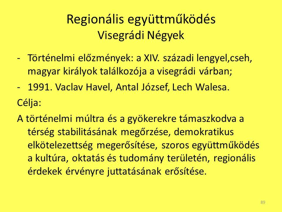 Regionális együttműködés Visegrádi Négyek -Történelmi előzmények: a XIV. századi lengyel,cseh, magyar királyok találkozója a visegrádi várban; -1991.