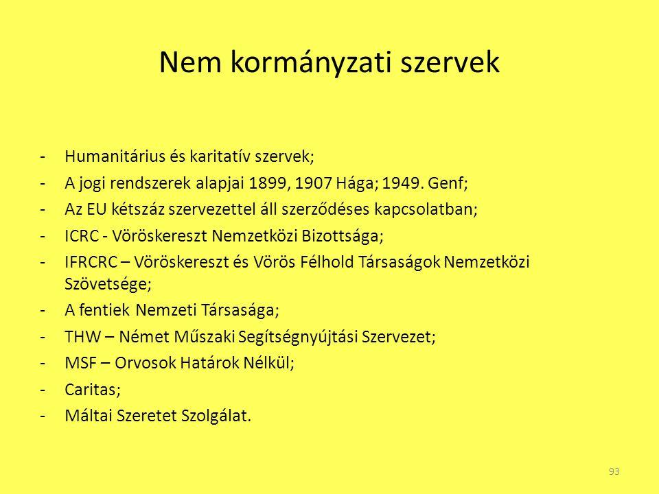 Nem kormányzati szervek -Humanitárius és karitatív szervek; -A jogi rendszerek alapjai 1899, 1907 Hága; 1949. Genf; -Az EU kétszáz szervezettel áll sz