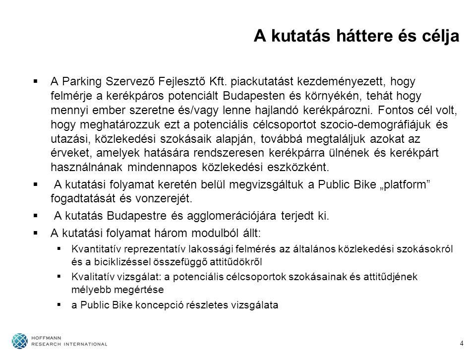 A kutatás háttere és célja  A Parking Szervező Fejlesztő Kft. piackutatást kezdeményezett, hogy felmérje a kerékpáros potenciált Budapesten és környé