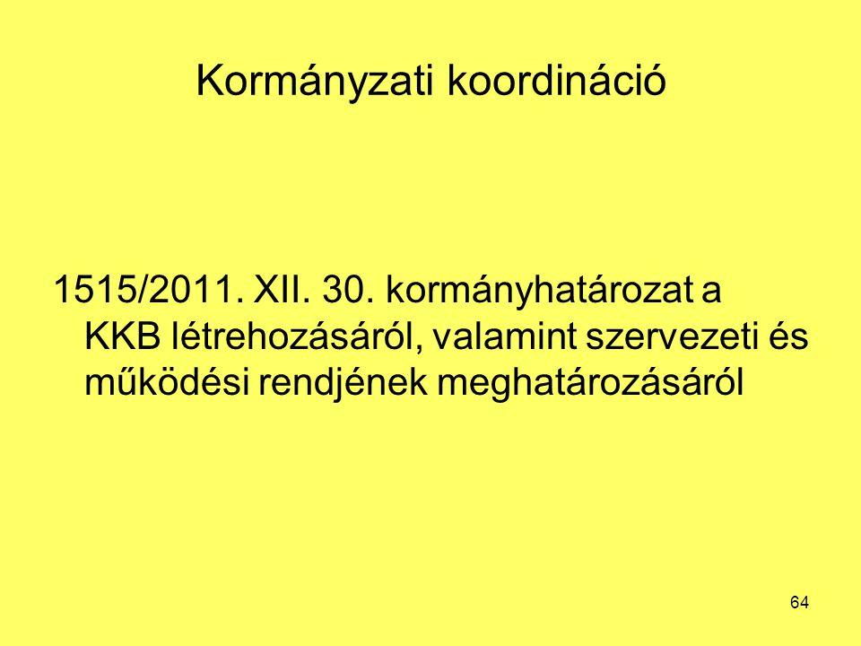 Kormányzati koordináció 1515/2011. XII. 30. kormányhatározat a KKB létrehozásáról, valamint szervezeti és működési rendjének meghatározásáról 64