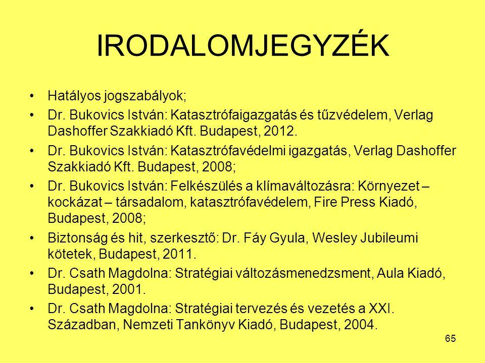 IRODALOMJEGYZÉK •Hatályos jogszabályok; •Dr. Bukovics István: Katasztrófaigazgatás és tűzvédelem, Verlag Dashoffer Szakkiadó Kft. Budapest, 2012. •Dr.