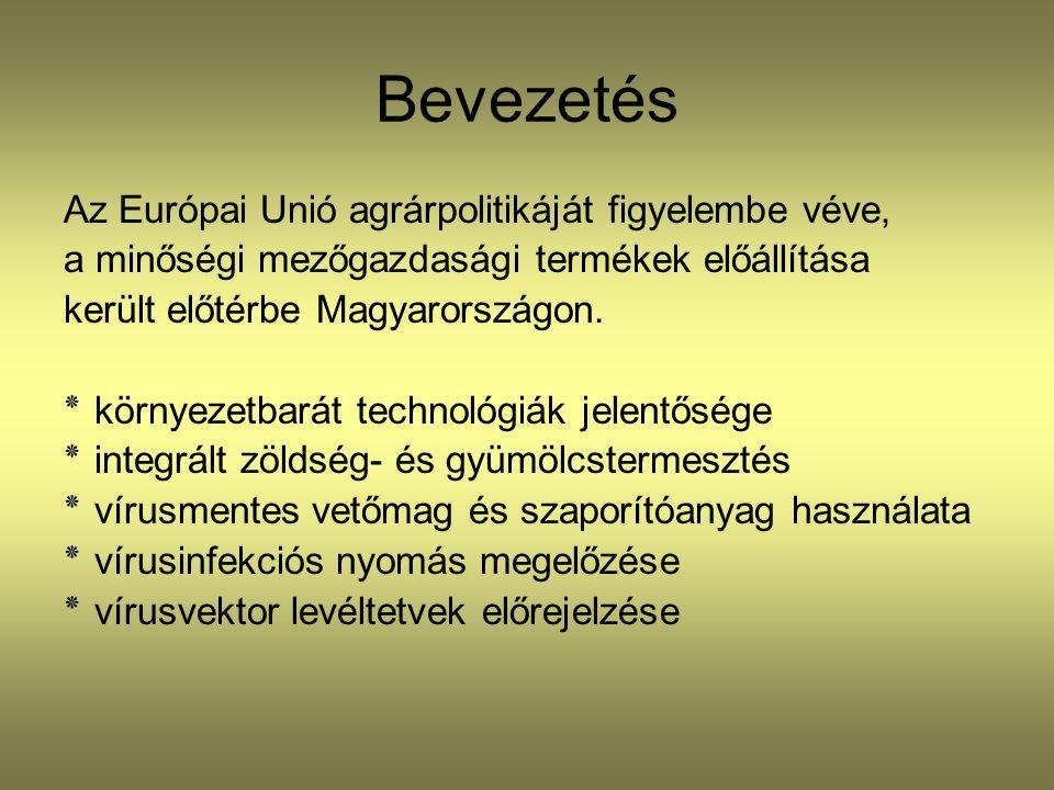 Bevezetés Az Európai Unió agrárpolitikáját figyelembe véve, a minőségi mezőgazdasági termékek előállítása került előtérbe Magyarországon. ٭ környezetb