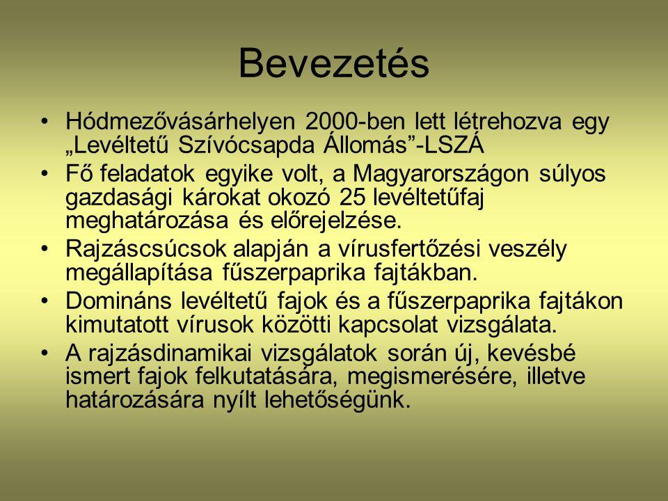 """Bevezetés •Hódmezővásárhelyen 2000-ben lett létrehozva egy """"Levéltetű Szívócsapda Állomás""""-LSZÁ •Fő feladatok egyike volt, a Magyarországon súlyos gaz"""