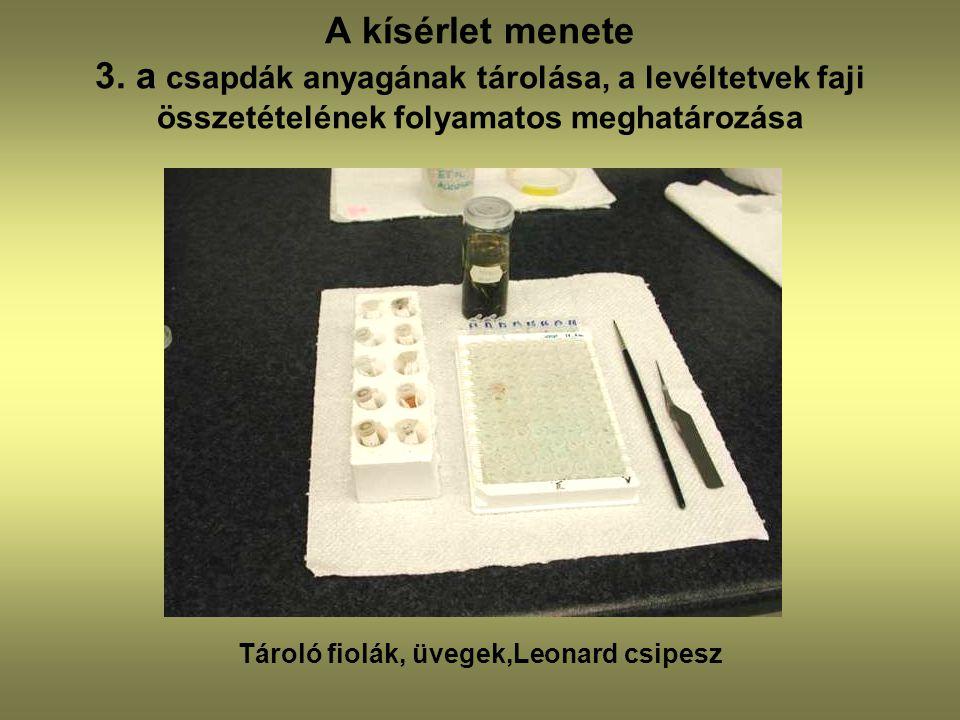 A kísérlet menete 3. a csapdák anyagának tárolása, a levéltetvek faji összetételének folyamatos meghatározása Tároló fiolák, üvegek,Leonard csipesz