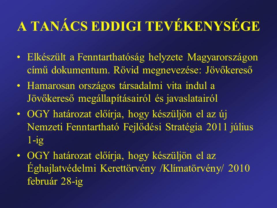 A TANÁCS EDDIGI TEVÉKENYSÉGE •Elkészült a Fenntarthatóság helyzete Magyarországon című dokumentum.
