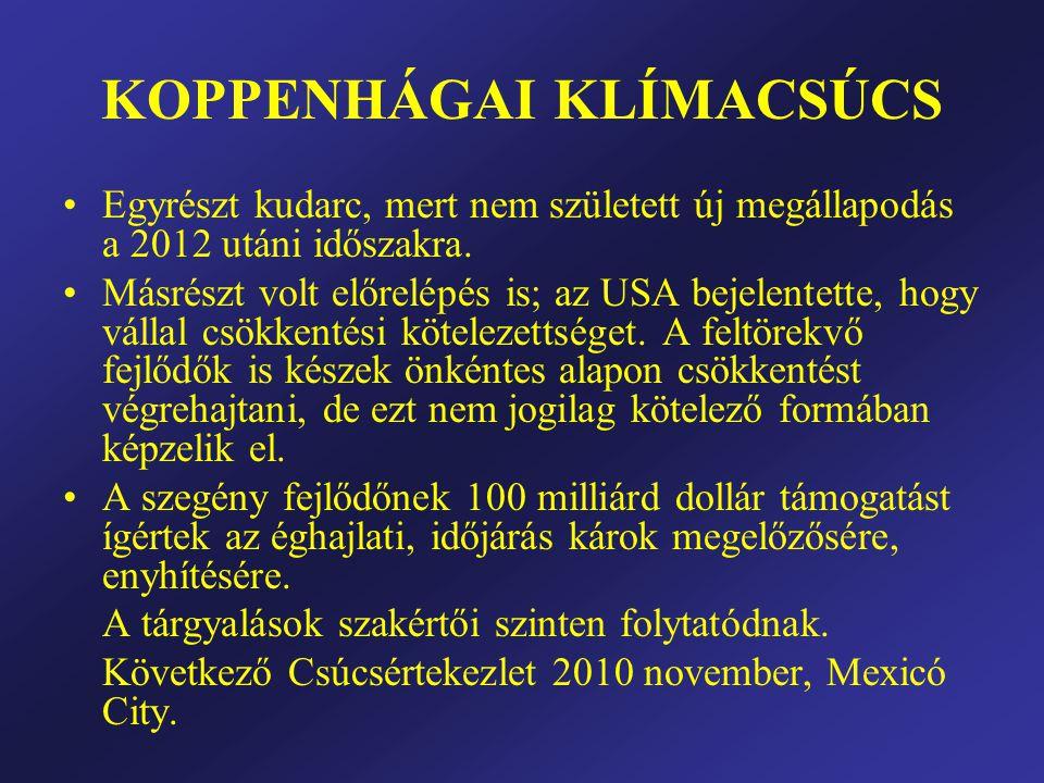 KOPPENHÁGAI KLÍMACSÚCS •Egyrészt kudarc, mert nem született új megállapodás a 2012 utáni időszakra.