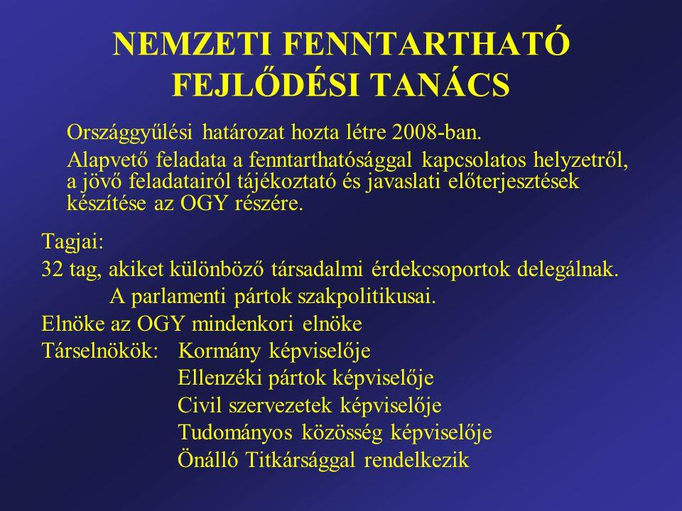 NEMZETI FENNTARTHATÓ FEJLŐDÉSI TANÁCS Országgyűlési határozat hozta létre 2008-ban.