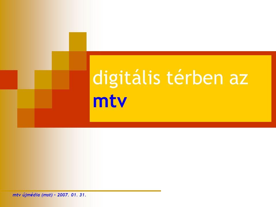 digitális térben az mtv mtv újmédia (mst) – 2007. 01. 31.
