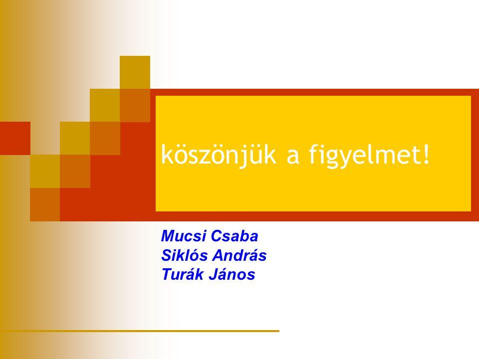 köszönjük a figyelmet! Mucsi Csaba Siklós András Turák János