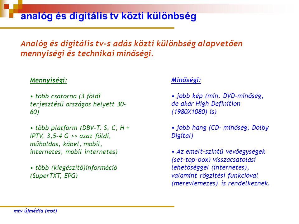 analóg és digitális tv közti különbség Analóg és digitális tv-s adás közti különbség alapvetően mennyiségi és technikai minőségi. Mennyiségi: • több c