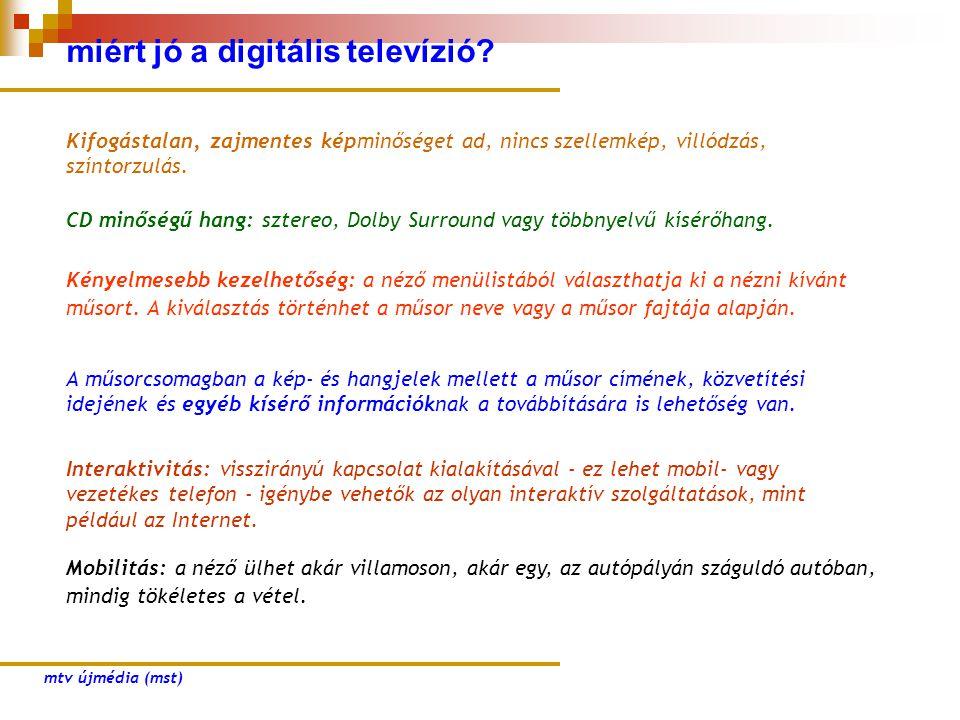 miért jó a digitális televízió? Kifogástalan, zajmentes képminőséget ad, nincs szellemkép, villódzás, színtorzulás. CD minőségű hang: sztereo, Dolby S