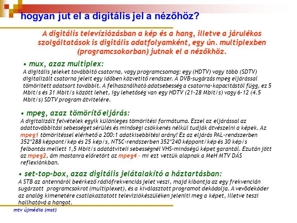 hogyan jut el a digitális jel a nézőhöz? • mux, azaz multiplex: A digitális jeleket továbbító csatorna, vagy programcsomag: egy (HDTV) vagy több (SDTV