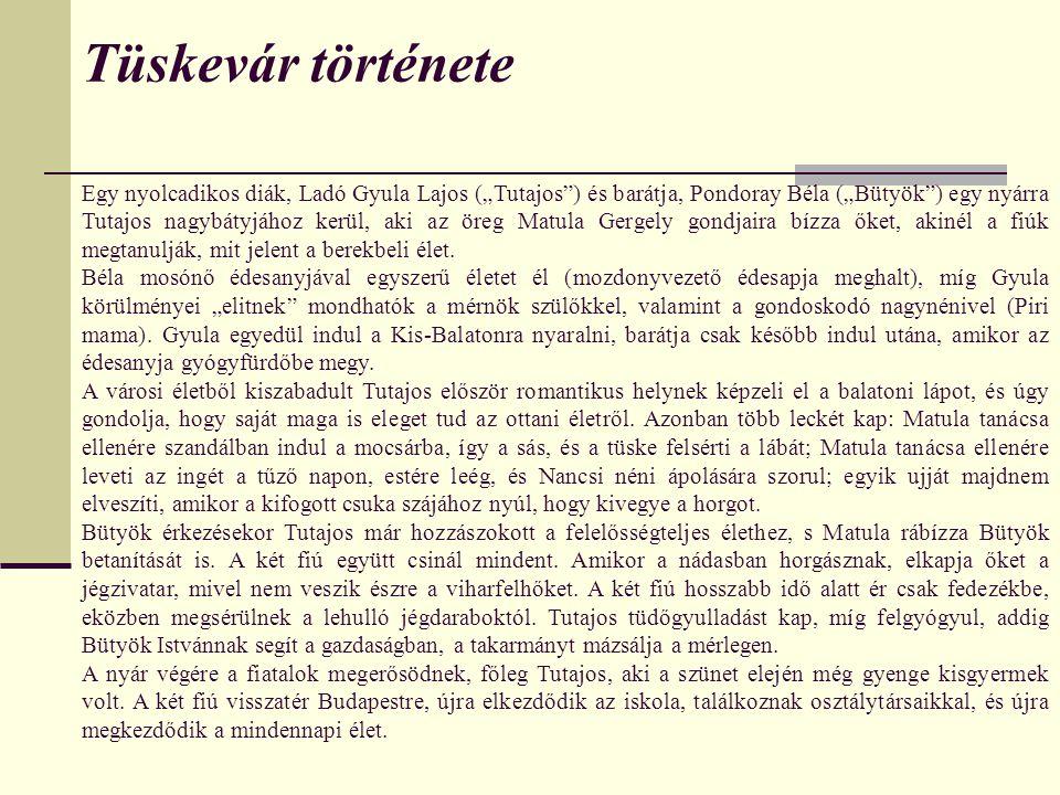 """Tüskevár története Egy nyolcadikos diák, Ladó Gyula Lajos (""""Tutajos ) és barátja, Pondoray Béla (""""Bütyök ) egy nyárra Tutajos nagybátyjához kerül, aki az öreg Matula Gergely gondjaira bízza őket, akinél a fiúk megtanulják, mit jelent a berekbeli élet."""