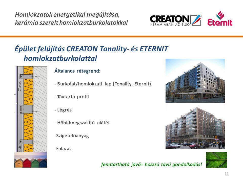 Homlokzatok energetikai megújítása, kerámia szerelt homlokzatburkolatokkal 11 Épület felújítás CREATON Tonality- és ETERNIT homlokzatburkolattal fennt