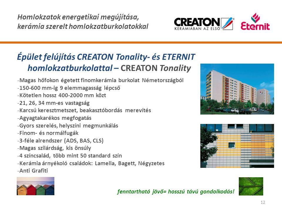 Homlokzatok energetikai megújítása, kerámia szerelt homlokzatburkolatokkal 12 Épület felújítás CREATON Tonality- és ETERNIT homlokzatburkolattal – CRE