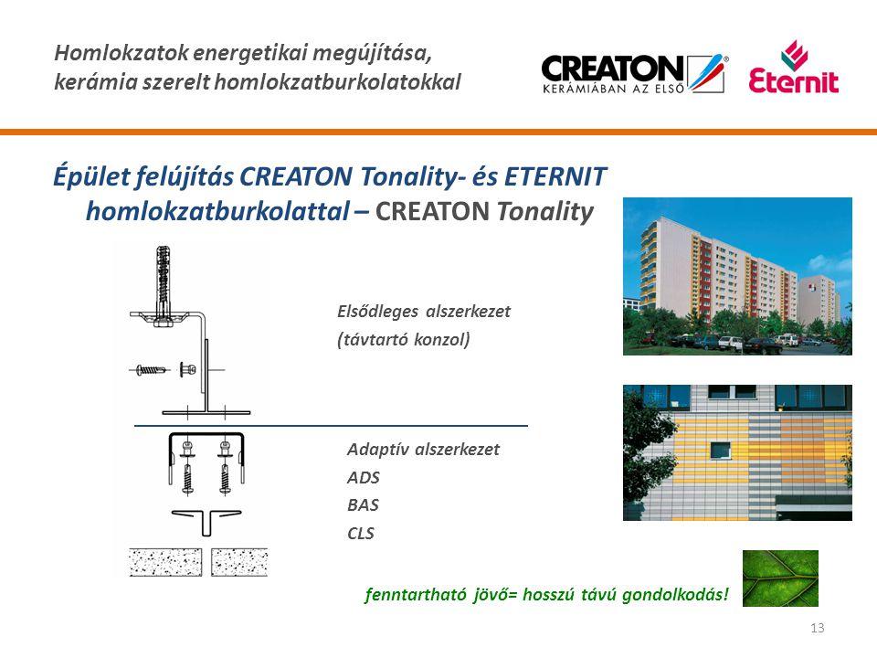 Homlokzatok energetikai megújítása, kerámia szerelt homlokzatburkolatokkal 13 Épület felújítás CREATON Tonality- és ETERNIT homlokzatburkolattal – CRE