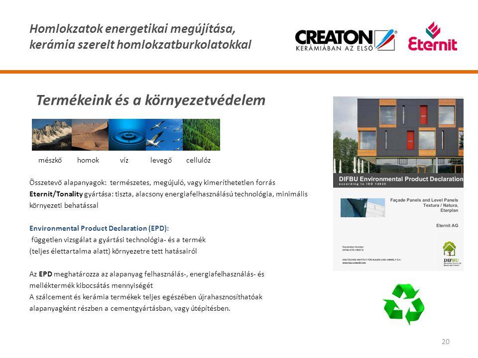 Homlokzatok energetikai megújítása, kerámia szerelt homlokzatburkolatokkal 20 Összetevő alapanyagok: természetes, megújuló, vagy kimeríthetetlen forrá
