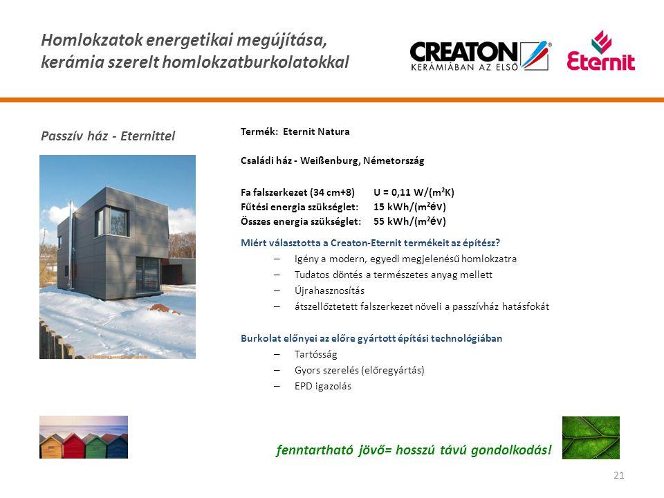 Homlokzatok energetikai megújítása, kerámia szerelt homlokzatburkolatokkal 21 fenntartható jövő= hosszú távú gondolkodás! Termék: Eternit Natura Csalá