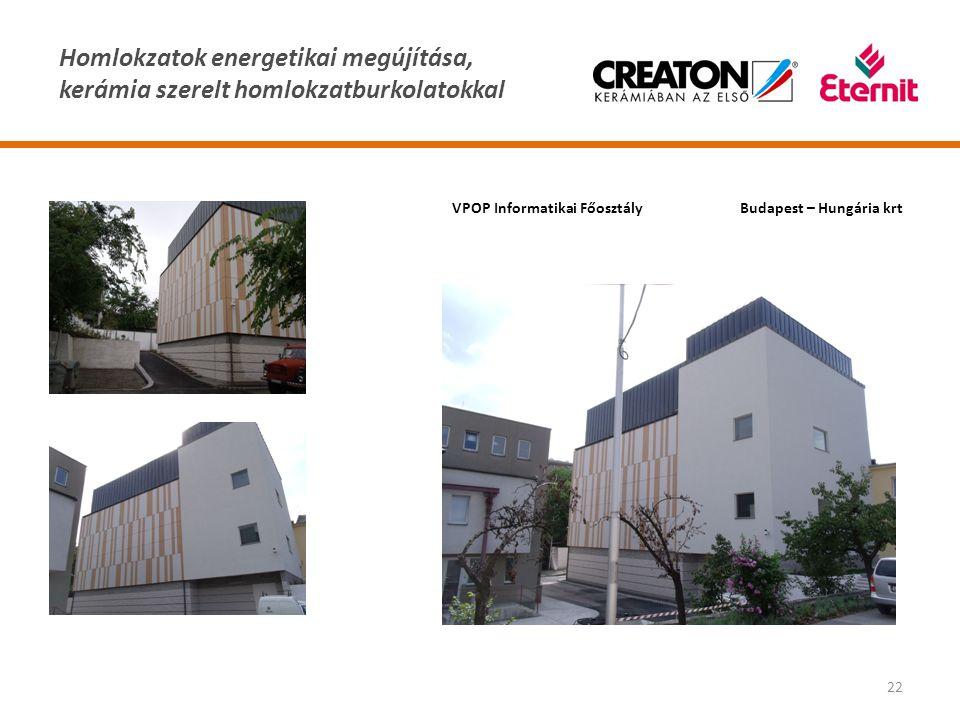 Homlokzatok energetikai megújítása, kerámia szerelt homlokzatburkolatokkal 22 VPOP Informatikai FőosztályBudapest – Hungária krt