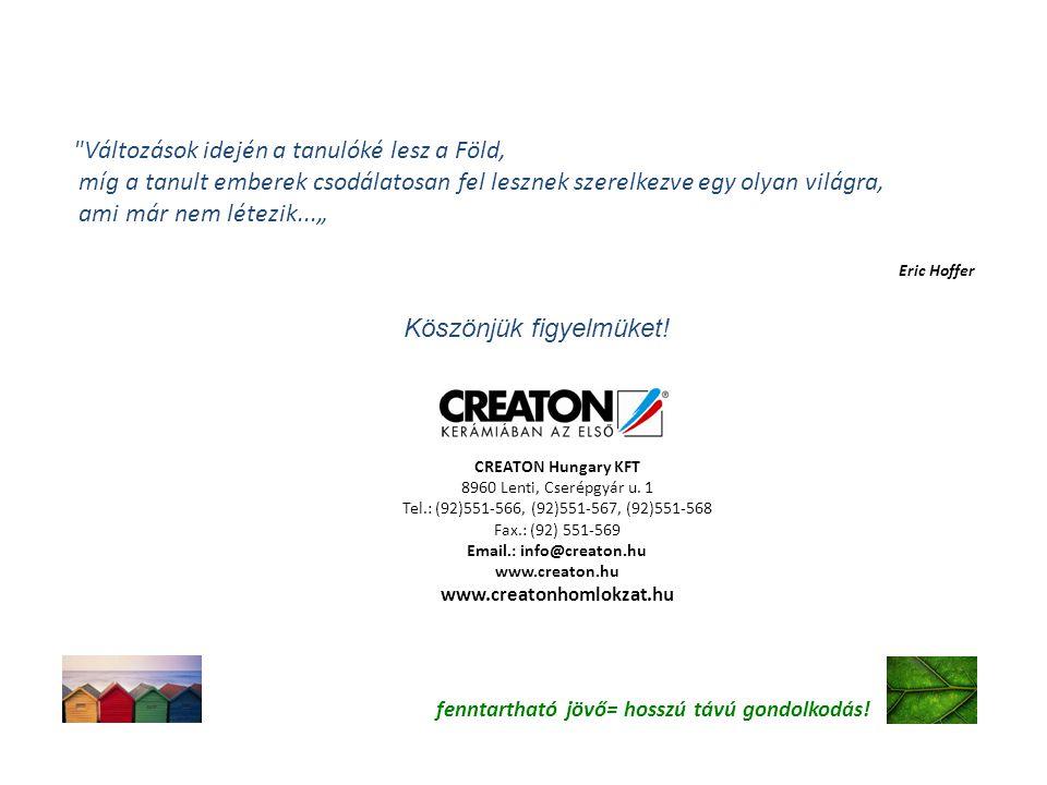 CREATON Hungary KFT 8960 Lenti, Cserépgyár u. 1 Tel.: (92)551-566, (92)551-567, (92)551-568 Fax.: (92) 551-569 Email.: info@creaton.hu www.creaton.hu