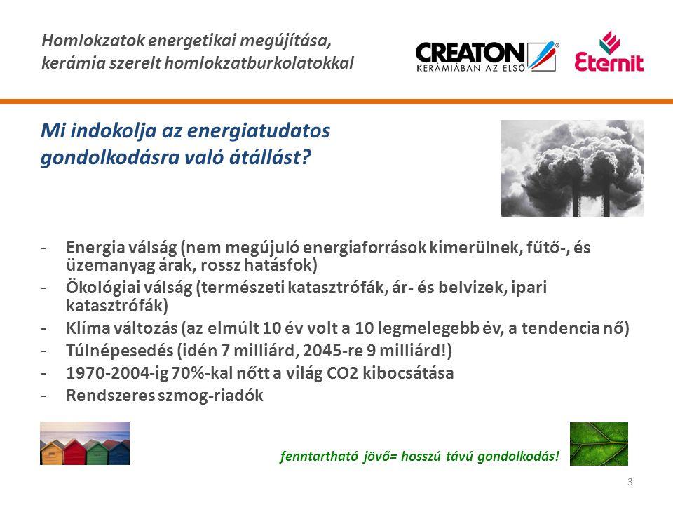 Homlokzatok energetikai megújítása, kerámia szerelt homlokzatburkolatokkal 33 Mi indokolja az energiatudatos gondolkodásra való átállást? -Energia vál