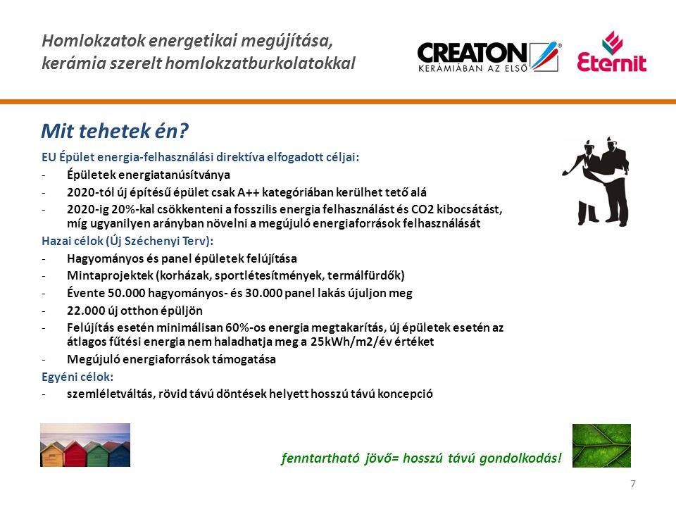 Homlokzatok energetikai megújítása, kerámia szerelt homlokzatburkolatokkal 77 Mit tehetek én? fenntartható jövő= hosszú távú gondolkodás! EU Épület en