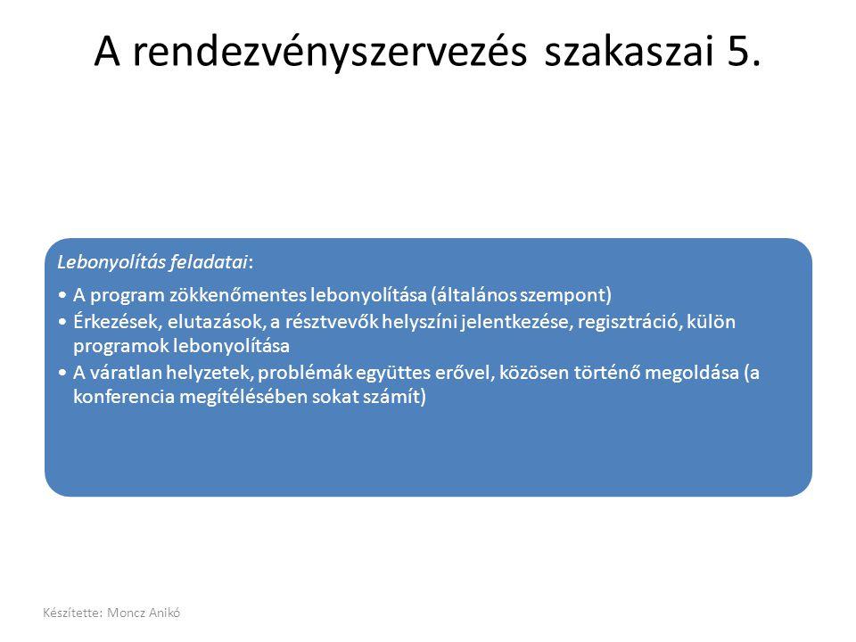 A rendezvényszervezés szakaszai 5. Lebonyolítás feladatai: •A program zökkenőmentes lebonyolítása (általános szempont) •Érkezések, elutazások, a részt