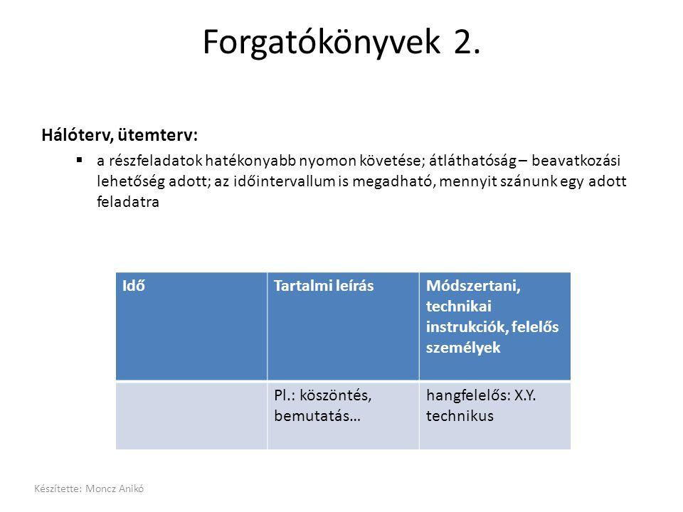 Forgatókönyvek 2. Hálóterv, ütemterv:  a részfeladatok hatékonyabb nyomon követése; átláthatóság – beavatkozási lehetőség adott; az időintervallum is