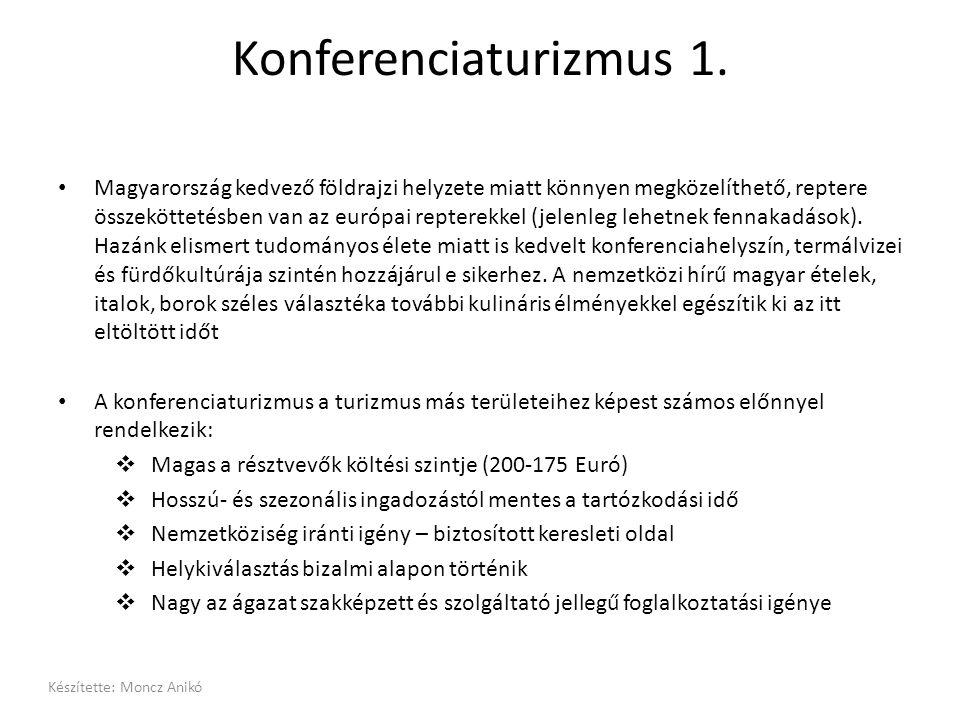 Konferenciaturizmus 1. • Magyarország kedvező földrajzi helyzete miatt könnyen megközelíthető, reptere összeköttetésben van az európai repterekkel (je