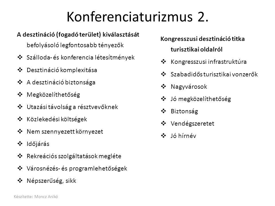Konferenciaturizmus 2. A desztináció (fogadó terület) kiválasztását befolyásoló legfontosabb tényezők  Szálloda- és konferencia létesítmények  Deszt