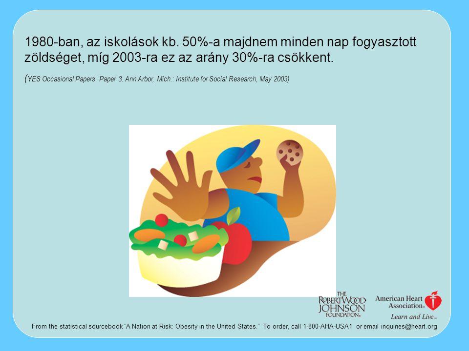 1980-ban, az iskolások kb. 50%-a majdnem minden nap fogyasztott zöldséget, míg 2003-ra ez az arány 30%-ra csökkent. ( YES Occasional Papers. Paper 3.