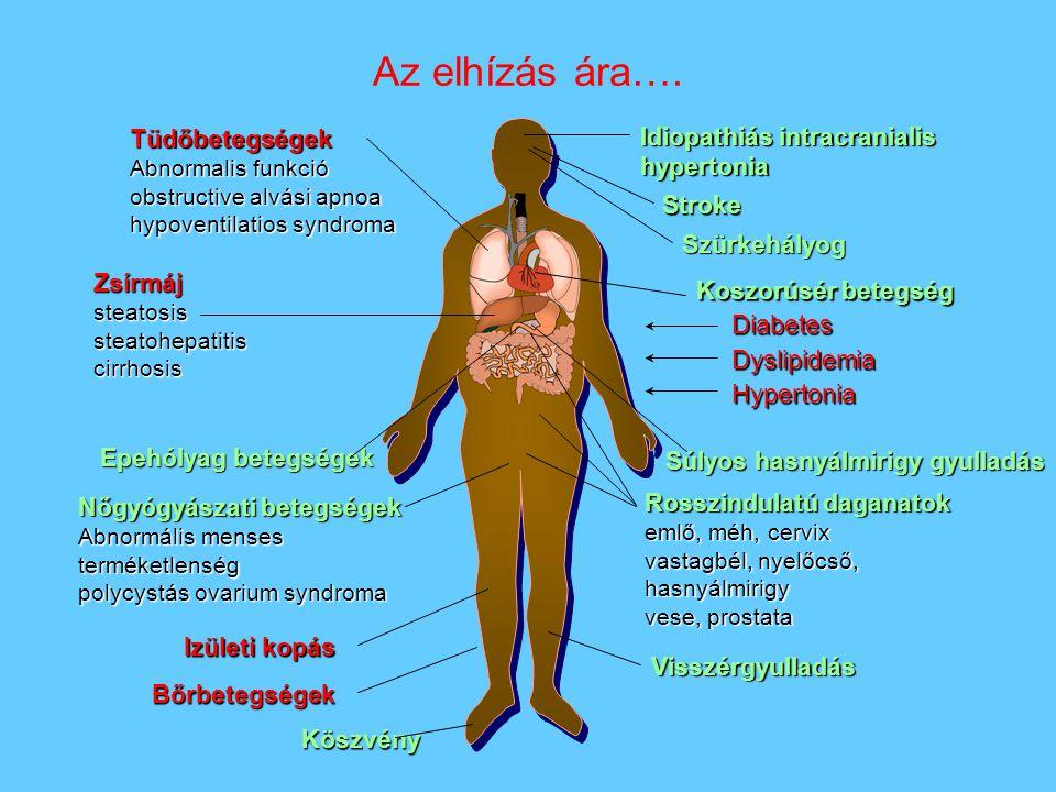 Tüdőbetegségek Abnormalis funkció obstructive alvási apnoa hypoventilatios syndroma Zsírmájsteatosissteatohepatitiscirrhosis Koszorúsér betegség Diabe