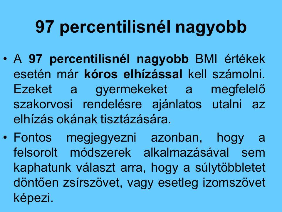 97 percentilisnél nagyobb •A 97 percentilisnél nagyobb BMI értékek esetén már kóros elhízással kell számolni. Ezeket a gyermekeket a megfelelő szakorv
