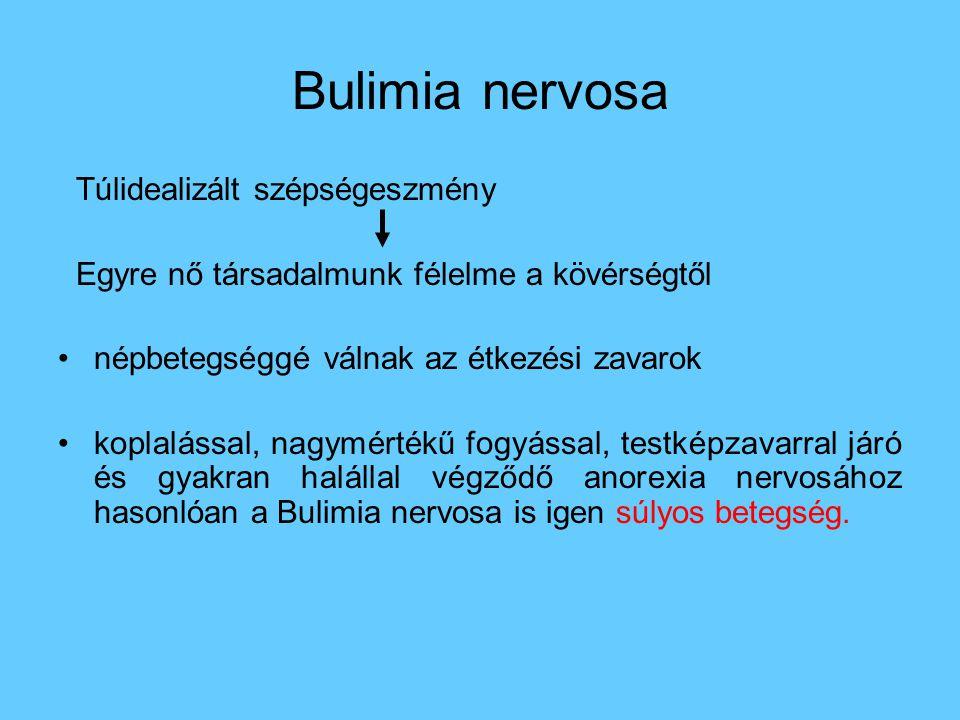 Bulimia nervosa Túlidealizált szépségeszmény Egyre nő társadalmunk félelme a kövérségtől •népbetegséggé válnak az étkezési zavarok •koplalással, nagym