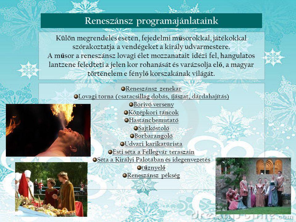 Reneszánsz nap VisegrádonReneszánsz programajánlataink Külön megrendelés esetén, fejedelmi m ű sorokkal, játékokkal szórakoztatja a vendégeket a királ