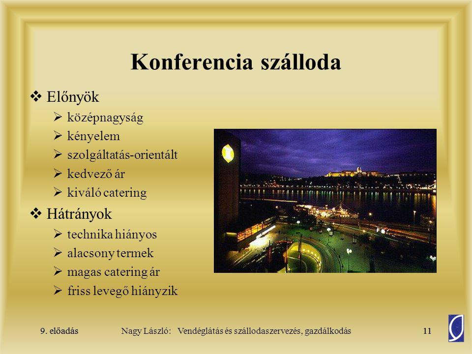 9. előadás11Nagy László: Vendéglátás és szállodaszervezés, gazdálkodás9. előadás11 Konferencia szálloda  Előnyök  középnagyság  kényelem  szolgált
