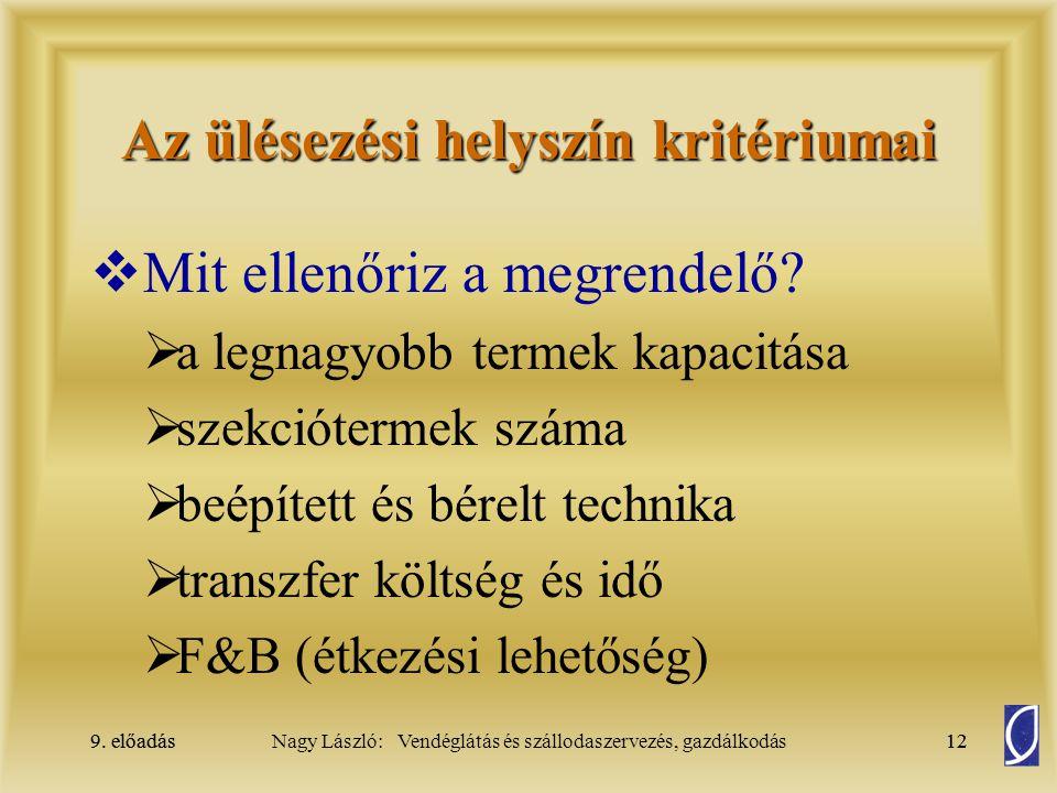 9. előadás12Nagy László: Vendéglátás és szállodaszervezés, gazdálkodás9. előadás12 Az ülésezési helyszín kritériumai  Mit ellenőriz a megrendelő?  a