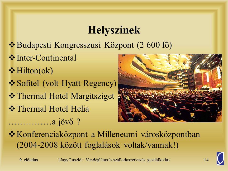 9. előadás14Nagy László: Vendéglátás és szállodaszervezés, gazdálkodás9. előadás14 Helyszínek  Budapesti Kongresszusi Központ (2 600 fő)  Inter-Cont