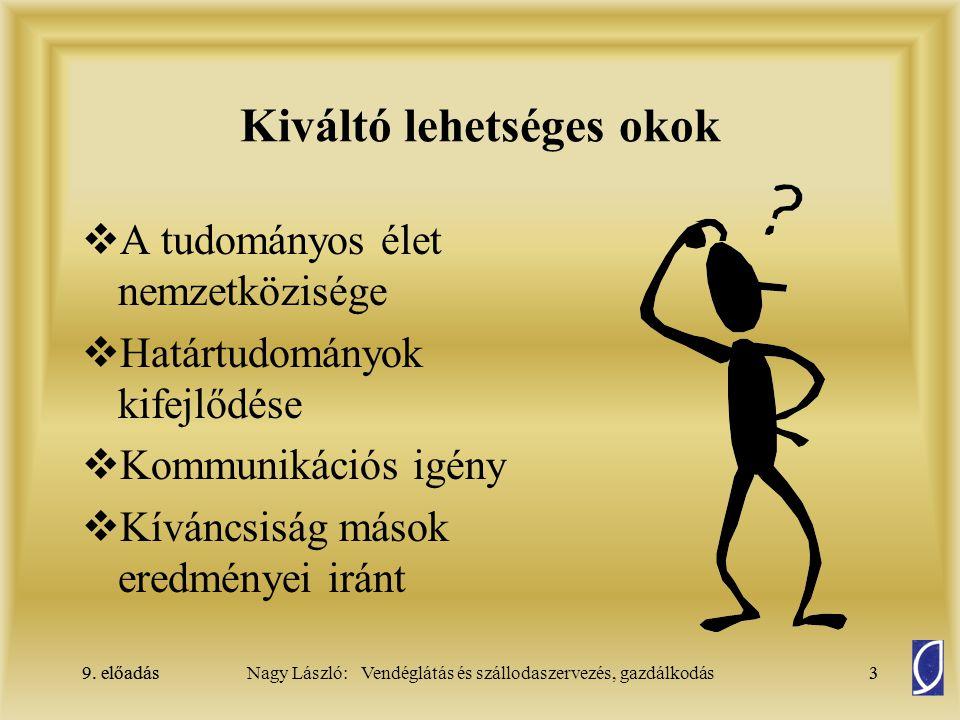 9.előadás14Nagy László: Vendéglátás és szállodaszervezés, gazdálkodás9.