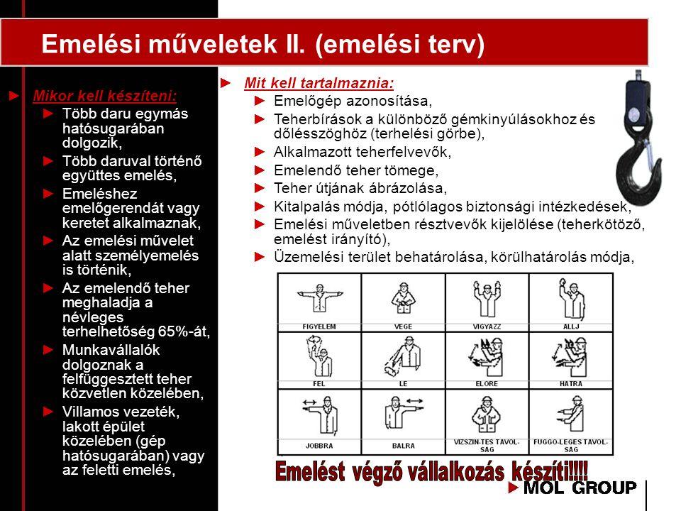 Emelési műveletek II. (emelési terv) ►Mit kell tartalmaznia: ►Emelőgép azonosítása, ►Teherbírások a különböző gémkinyúlásokhoz és dőlésszöghöz (terhel