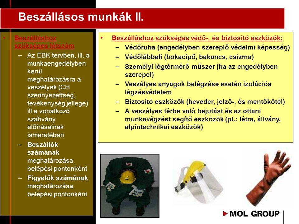 Beszállásos munkák II. •Beszálláshoz szükséges védő-, és biztosító eszközök: –Védőruha (engedélyben szereplő védelmi képesség) –Védőlábbeli (bokacipő,