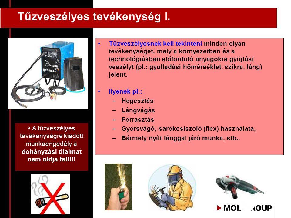 Tűzveszélyes tevékenység I. •Tűzveszélyesnek kell tekinteni minden olyan tevékenységet, mely a környezetben és a technológiákban előforduló anyagokra