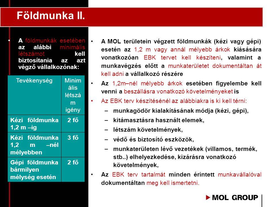 Földmunka II. •A MOL területein végzett földmunkák (kézi vagy gépi) esetén az 1,2 m vagy annál mélyebb árkok kiásására vonatkozóan EBK tervet kell kés