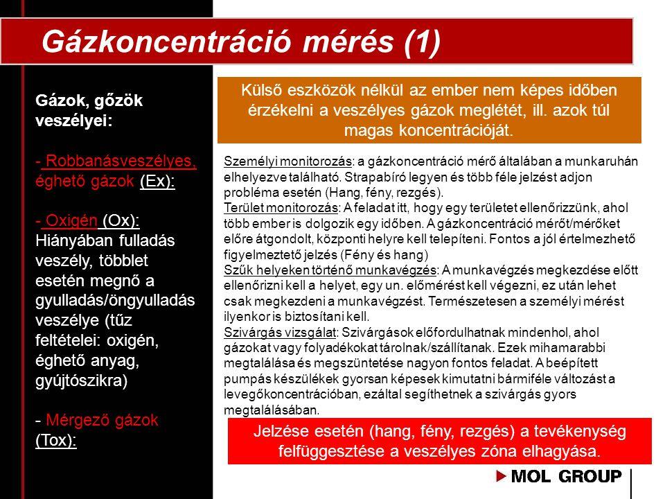 Gázkoncentráció mérés (1) Gázok, gőzök veszélyei: - Robbanásveszélyes, éghető gázok (Ex): - Oxigén (Ox): Hiányában fulladás veszély, többlet esetén me