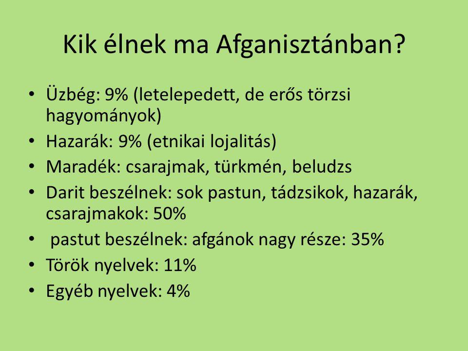 Kik élnek ma Afganisztánban? • Üzbég: 9% (letelepedett, de erős törzsi hagyományok) • Hazarák: 9% (etnikai lojalitás) • Maradék: csarajmak, türkmén, b