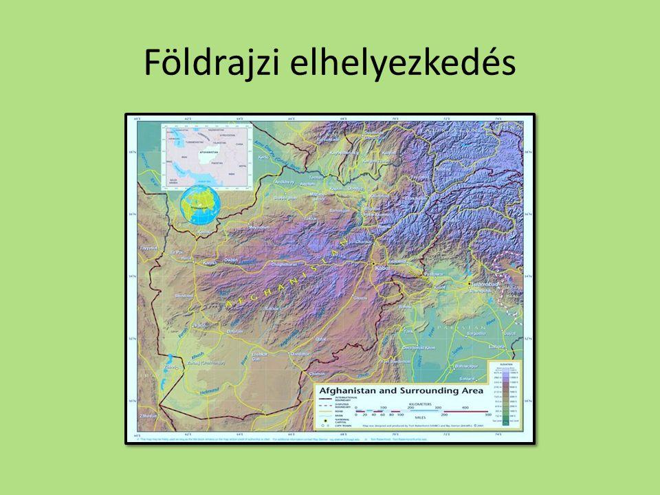 • Szomszédok: Irán, Pakisztán, Kína, Tádzsikisztán, Türkmenisztán, Üzbegisztán • Középső részén: Hindukus-hegység (Nowshak, 7485 m) • Északi-alföldek, Afgán-felföld, Afgán-medence • Amu-Darja, Hilmend folyók • Délen homoksivatagok: Daste-Margo (halál sivatagja, Daste-Naomid (kétségbeesés sivatagja)