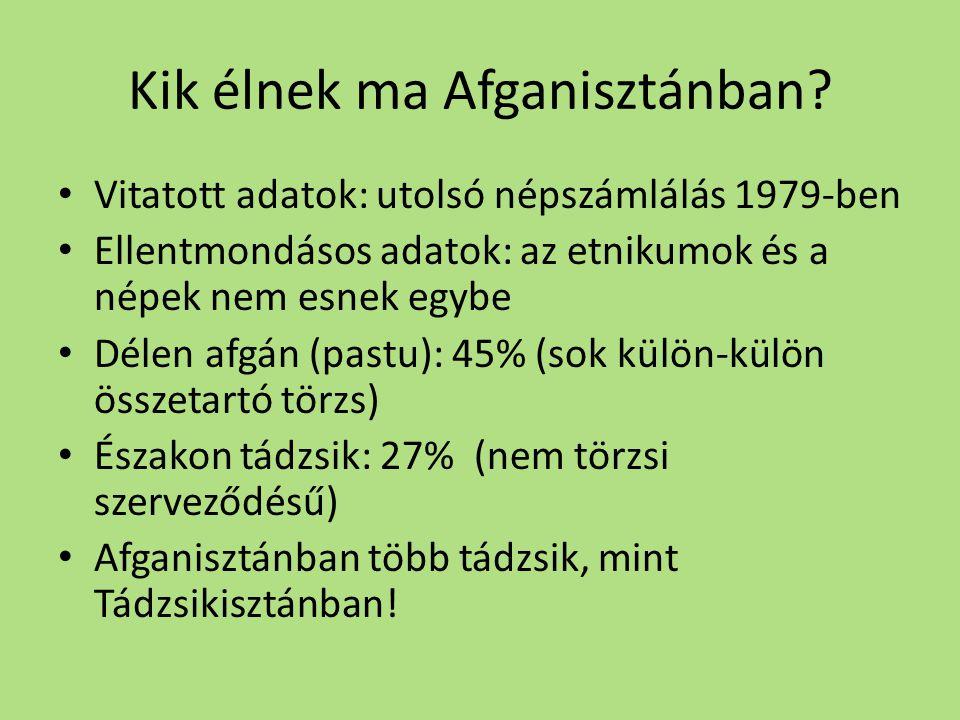 Kik élnek ma Afganisztánban? • Vitatott adatok: utolsó népszámlálás 1979-ben • Ellentmondásos adatok: az etnikumok és a népek nem esnek egybe • Délen