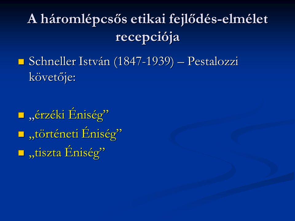 """A háromlépcsős etikai fejlődés-elmélet recepciója  Schneller István (1847-1939) – Pestalozzi követője:  """"érzéki Éniség""""  """"történeti Éniség""""  """"tisz"""